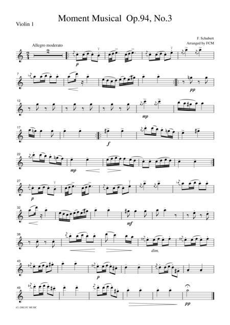 Schubert  Moment Musical Op.94, No.3, for string quartet, CS002