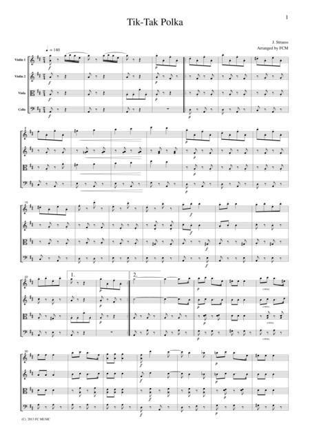 J.Strauss  Tik-Tak Polka, for string quartet, CS110