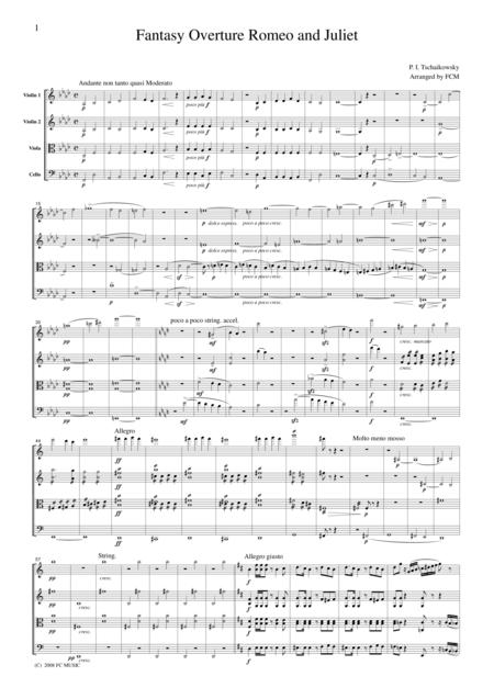 Tchaikowsky  Fantasy Overture Romeo and Juliet, for string quartet, CT006