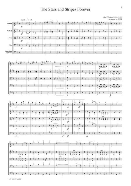 Sousa  The Stars and Stripes Forever, for string quartet, ML034