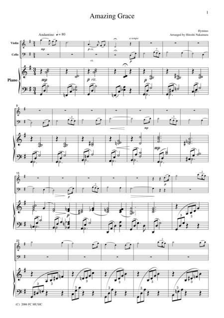 Hymnus  Amazing Grace, for piano trio, PH001