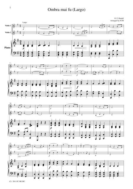 Handel  Ombra mai fu (Largo), for 2 Violins & Piano, VN205