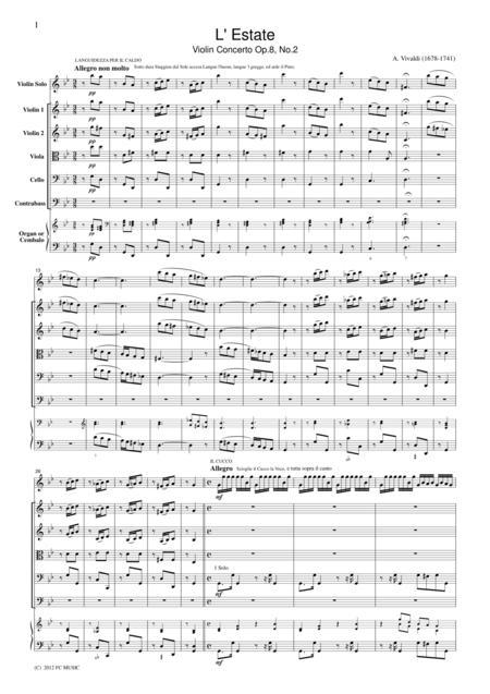 Vivaldi  L' Estate Violin Concerto Op.8, No.2, for string orchestra, SV002