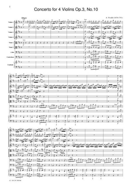 Vivaldi  Concerto for 4 Violins Op.3, No.10, for string orchestra, SV005