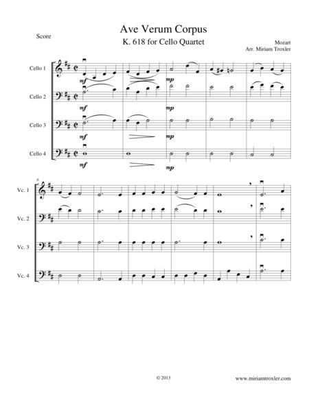Ave Verum Corpus for Cello Quartet