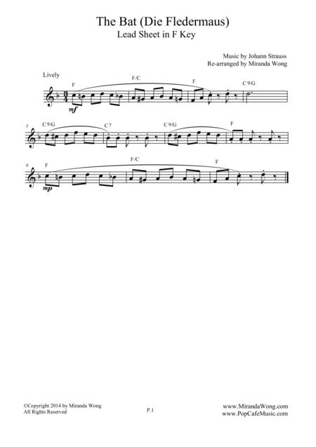 The Bat (Die Fledermaus) - Lead Sheet in F Key