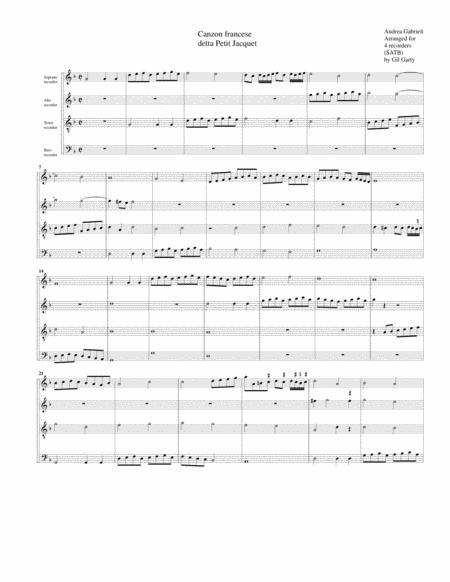 Canzon Francese detta Petit Jacquet (arrangement for 4 recorders)
