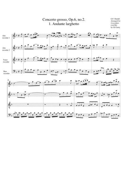 Concerto grosso, Op.6, no.2 (arrangement for 4 recorders)