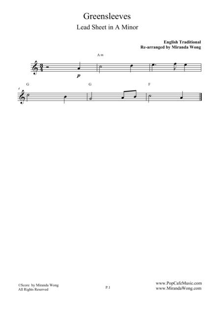 Download Greensleeves Flute Solo In A Minor With Chords Sheet