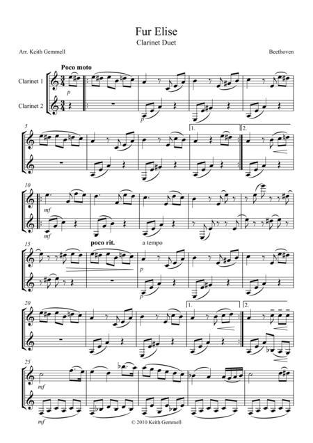 Fur Elise - Clarinet Duet
