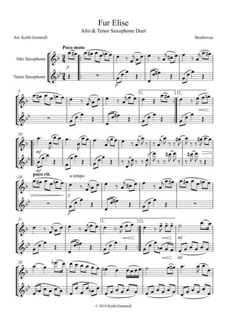 Fur Elise - Saxophone Duet (2 Altos or 2 Tenors)