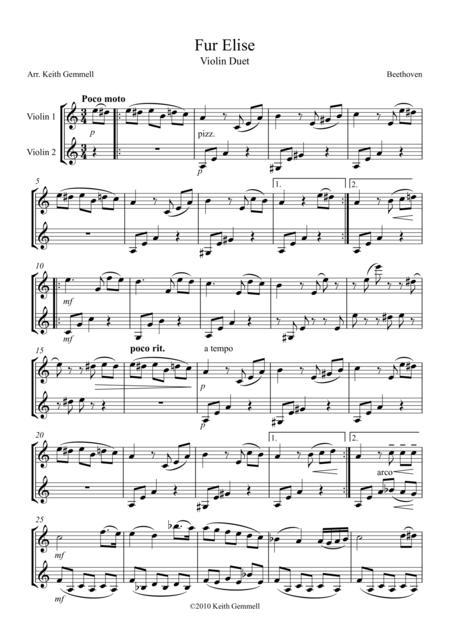 Fur Elise – Violin Duet