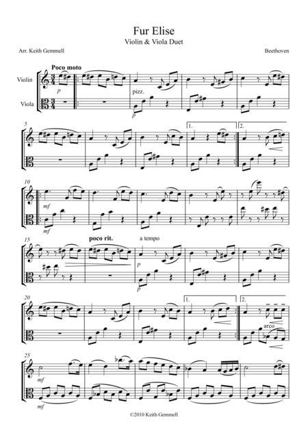 Fur Elise – Violin & Viola Duet