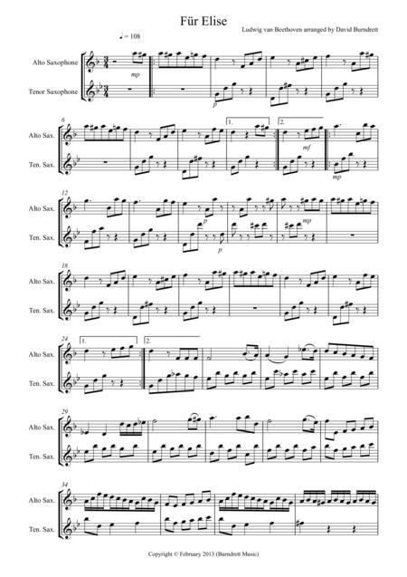Für Elise for Alto and Tenor Saxophone Duet