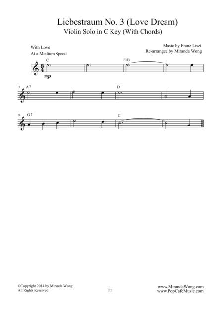 Liebestraum No.3 (Love Dream) - Lead Sheet in C Key