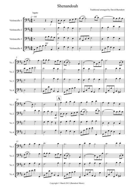 Shenandoah for Cello Quartet