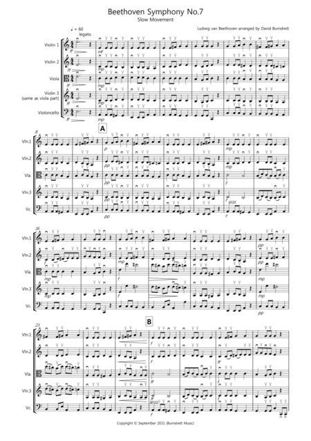 Beethoven Symphony No.7 (slow movement) for String Quartet