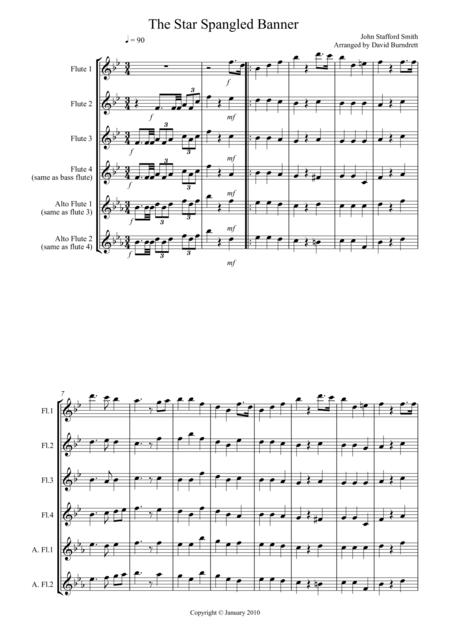 The Star Spangled Banner for Flute Quartet