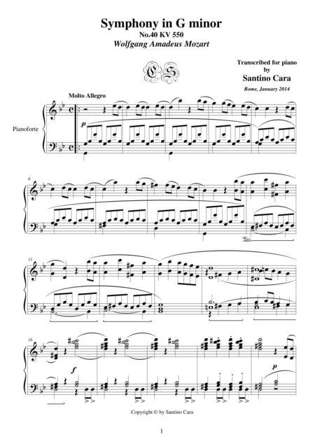 Symphony No.40 in G minor KV 550 for piano - Full