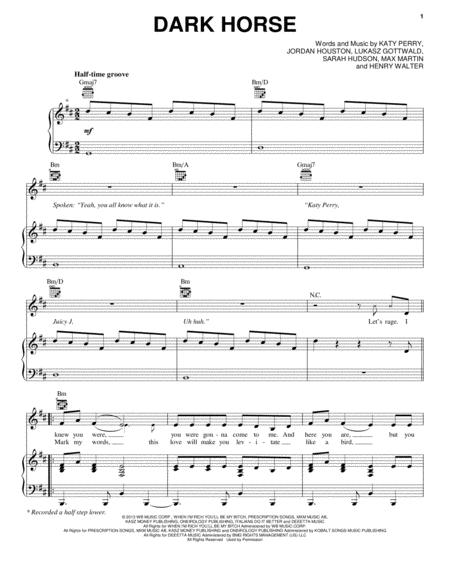 Download Dark Horse Sheet Music By Katy Perry - Sheet Music Plus