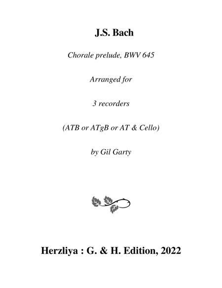 Wachet auf, ruft uns die Stimme, BWV 645 for organ from Schuebler Chorales (arrangement for 3 recorders)