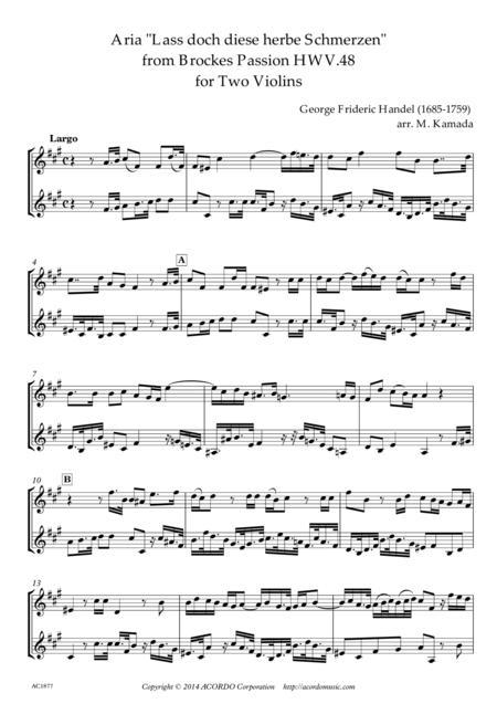 'Lass doch diese herbe Schmerzen' from Brockes Passion HWV.48 for Two Violins