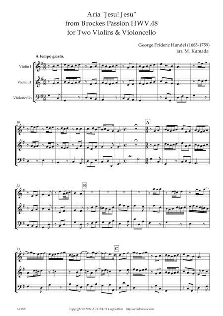 'Jesu! Jesu' from Brockes Passion HWV.48 for Two Violins & Violoncello