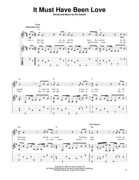 Download It Must Have Been Love Sheet Music By Roxette - Sheet Music ...