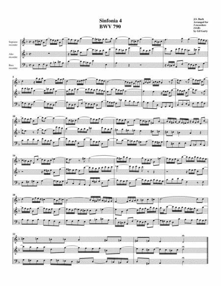 Sinfonia (Three part invention) no.4, BWV 790