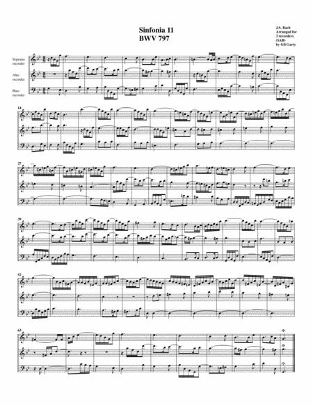Sinfonia (Three part invention) no.11, BWV 797