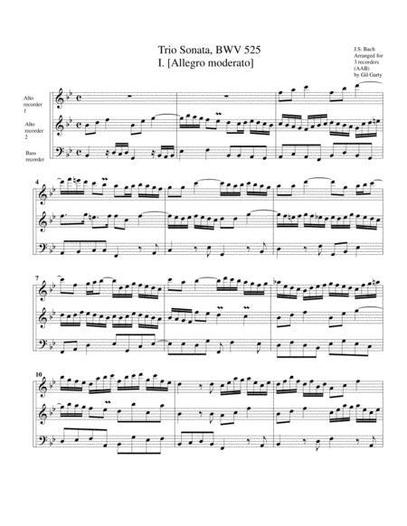Trio sonata for organ, no.1, BWV 525 (arrangement for 3 recorders)