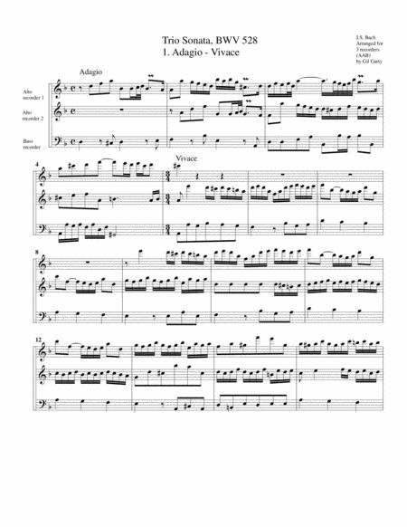 Trio sonata for organ, no.4, BWV 528 (arrangement for 3 recorders)