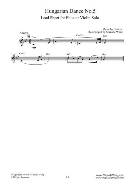 Hungarian Dance No.5 in G Minor - Violin Solo