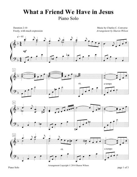 Download What A Friend We Have In Jesus Piano Solo Sheet Music By