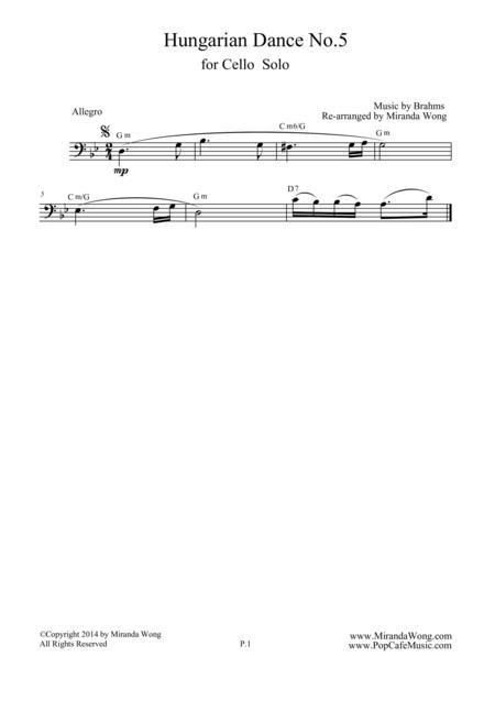 Hungarian Dance No.5 in G Minor - Bass Clarinet, Bassoon or Tenor Trombone Solo