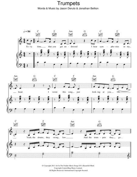 Download Trumpets Sheet Music By Jason Derulo - Sheet Music Plus