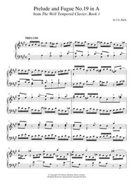 Prelude and Fugue No. 19 In A Major (BWV 864 From 'The Well-Tempered Clavier, Book 1')
