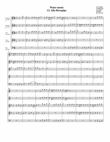 Alla hornpipe from Water music (arrangement for 5 recorders)
