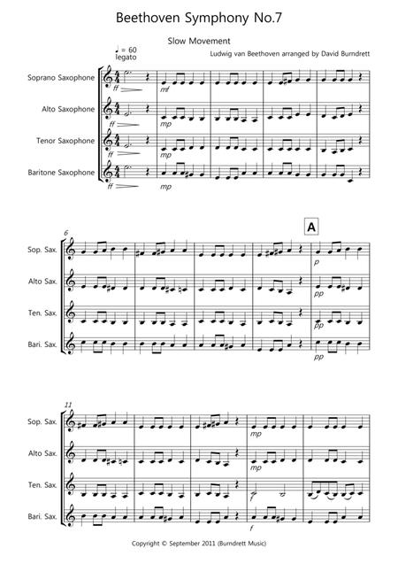 Beethoven Symphony No.7 (slow movement) for Saxophone Quartet