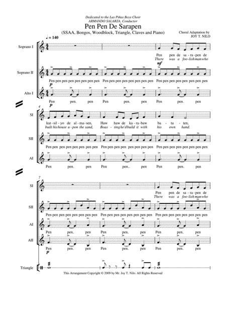 Download Pen Pen De Sarapen Sheet Music By Traditional Filipino ...