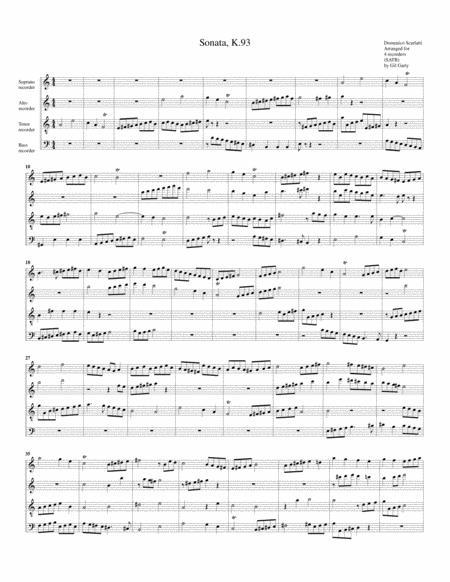 Sonata K.93 (fugue) (arrangement for 4 recorders)