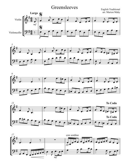Greensleeves, for violin & cello duet
