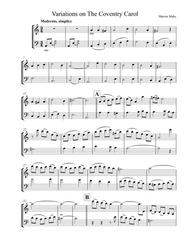 The Coventry Carol - for violin & cello duet