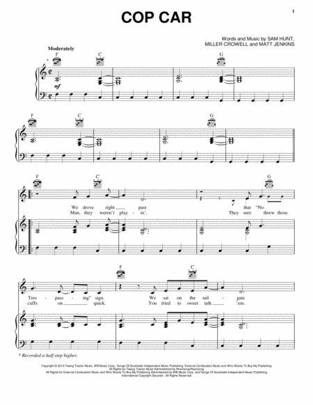 Download Cop Car Sheet Music By Keith Urban Sheet Music Plus
