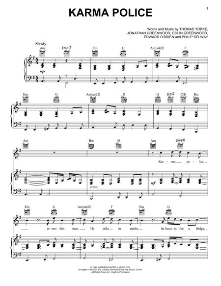 Download Karma Police Sheet Music By Radiohead - Sheet Music Plus