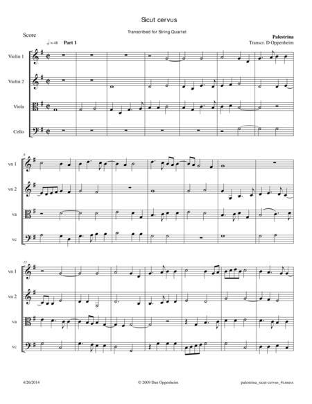 Palestrina: Sicut cervus for String Quartet