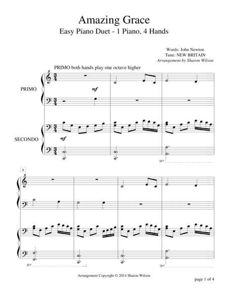 Amazing Grace (Easy Piano Duet, 1 Piano, 4 Hands)
