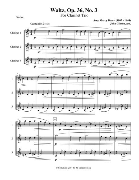 Waltz by Amy Beach set for Clarinet Trio