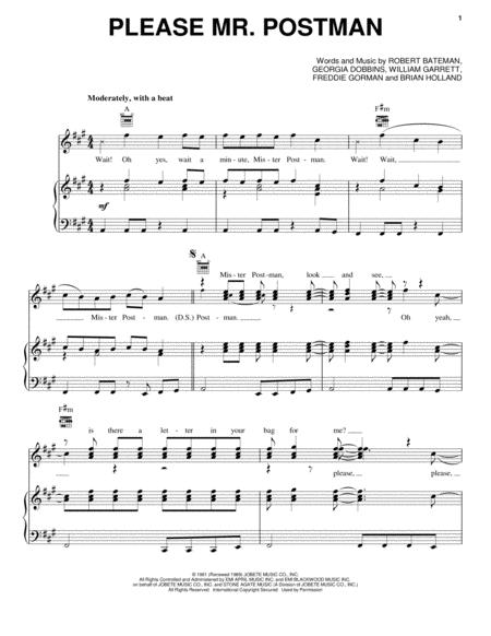 Download Please Mr Postman Sheet Music By The Beatles Sheet Music