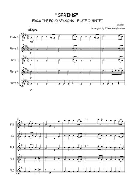 SPRING by Vivaldi - FROM THE FOUR SEASONS - FLUTE QUINTET - SCORE & ALL PARTS